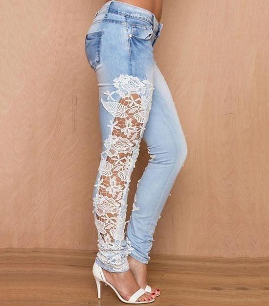 Jeans de mujer con encaje en el lateral