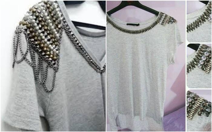 camisetas con chinchetas y cadenas