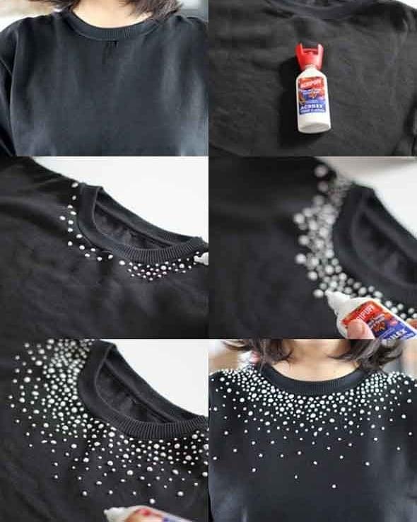 camiseta básica con cuello decorado