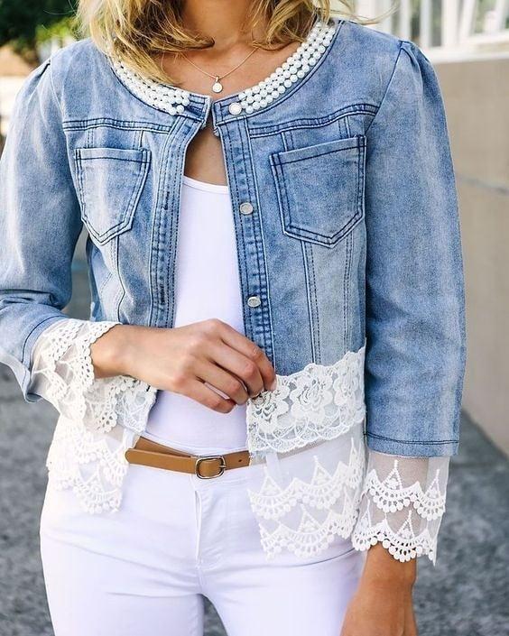 jeans con encaje y perlas
