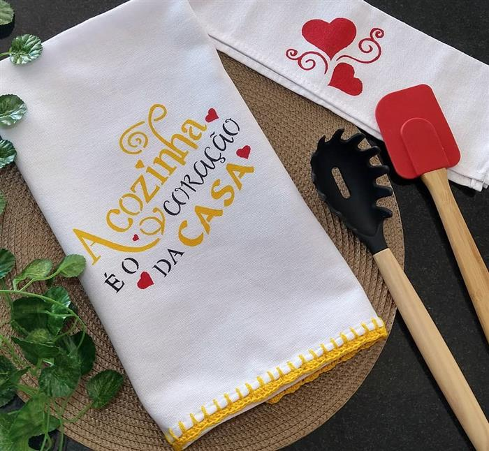 paño de cocina con barra de crochet