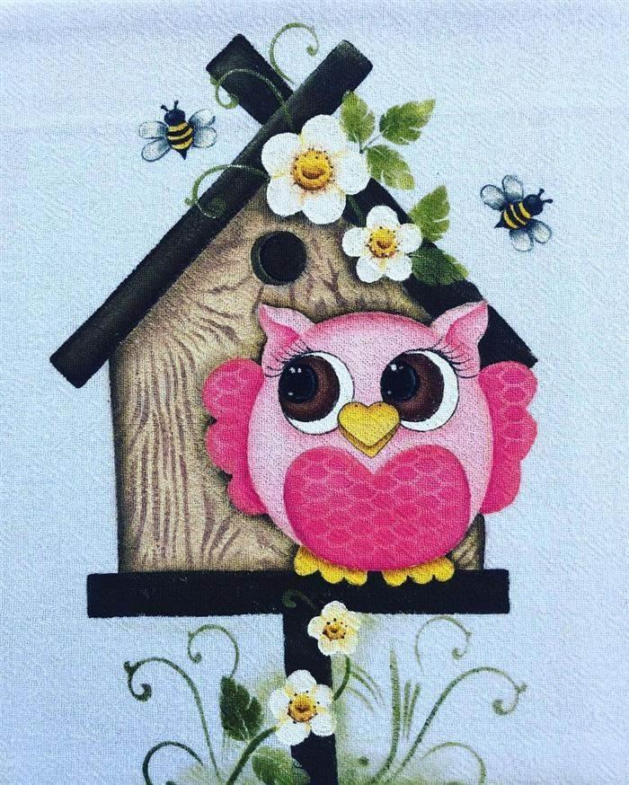 pintura de paño de cocina de búho
