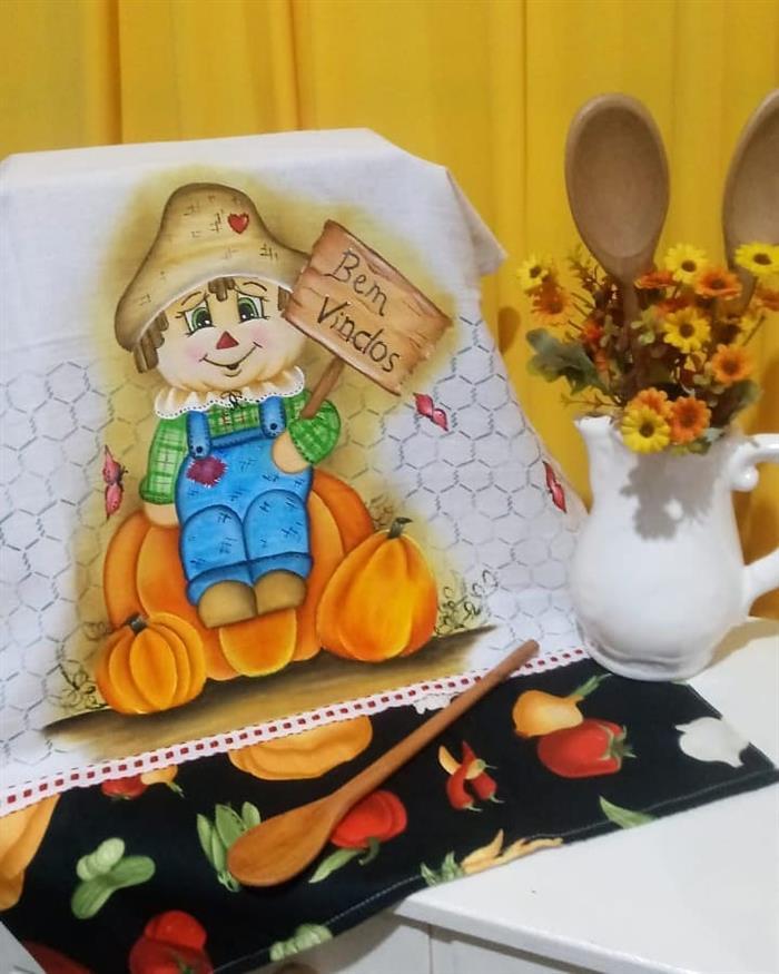muñeca de paño de cocina de pintura