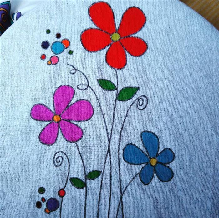 pintura para flores de trapo