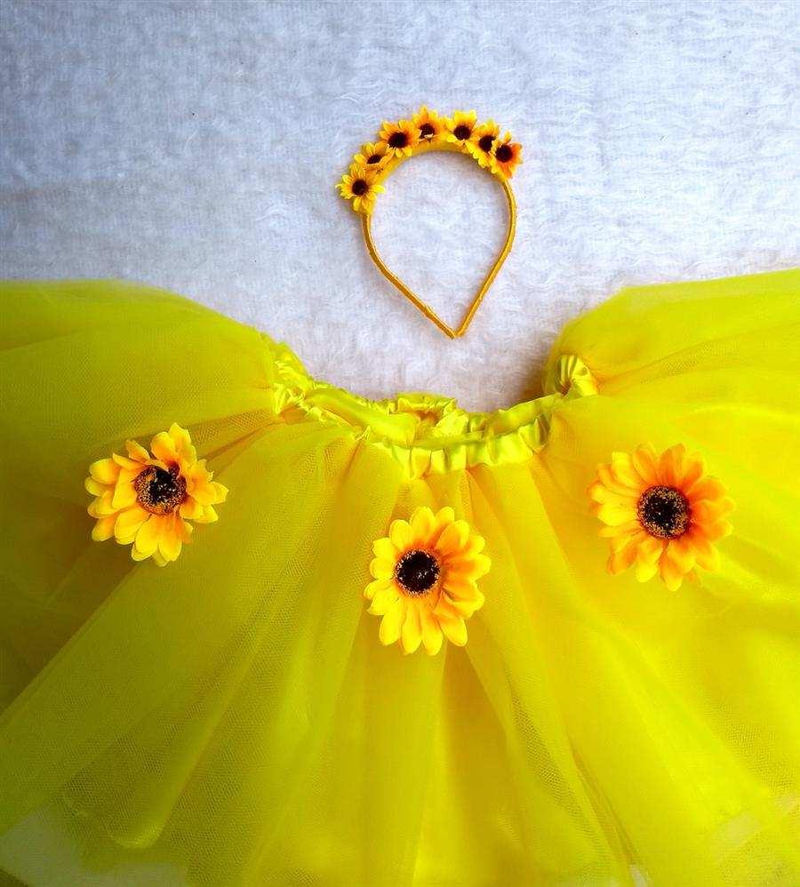 Falda tutú amarilla con girasol