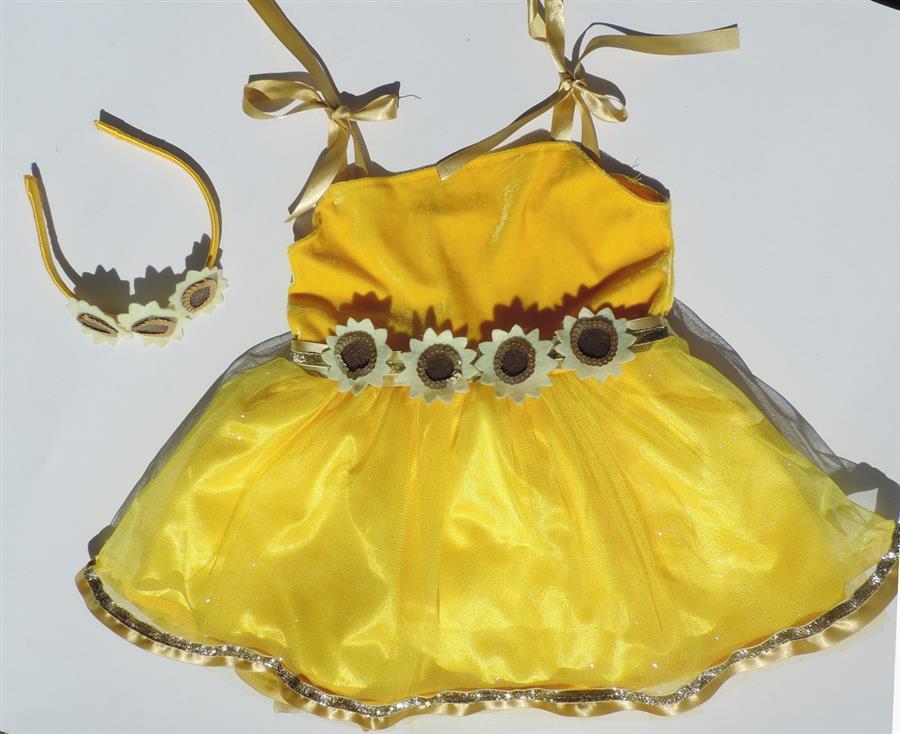 Vestido infantil de girasol