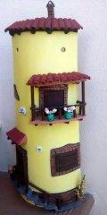 Teja decorada artesanal en relieve: Casa Doble Tejado
