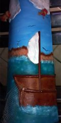 Teja decorada artesanal lisa: Mar
