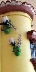 Teja decorada artesanal en relieve: Balcon Colgado (Detalle Maceteros)