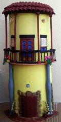 Teja decorada artesanal en relieve: Casa con Columnas